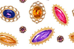 Vintage brooches seamless pattern,