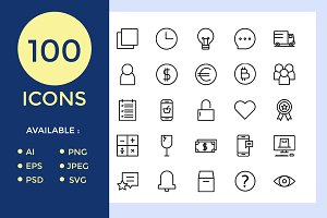 100 Icon E-commers Element Set