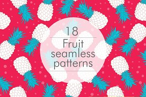 18 fruits seamless patterns