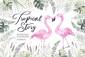 Tropical story. Watercolor set