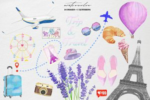 Trip &travel watercolor clip art set