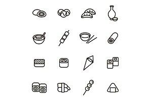 Japanese Foods Thin Line Card Set