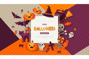 Halloween card with square frame