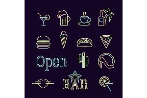 Neon Lights Signs Line Icon Set.