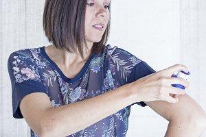 young woman applying the sensor