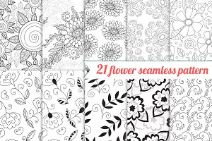 21 flower and leaf seamless patterns