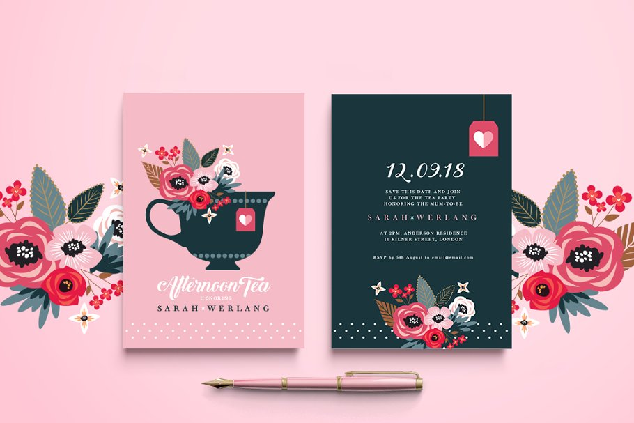 Afternoon Tea Invitation Templates Creative Market