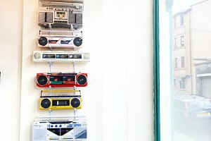 Radio Decor in Hipster Cafe