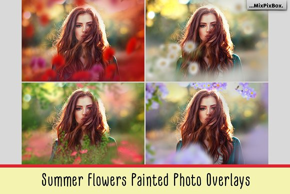 Summer Flowers Painted Overlays