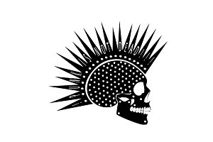 Punk is not dead skull icon black