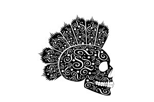Punk skull icon with Mohawk and orna