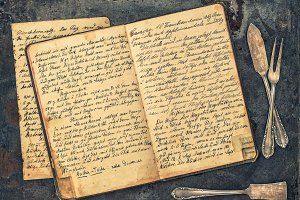 Handwritten antique recipe book