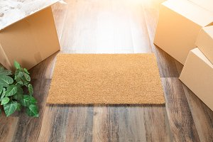Blank Welcome Mat & Moving Boxes