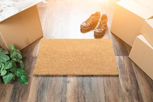 Blank Welcome Mat, Boxes & Shoes