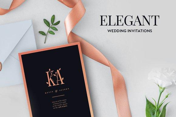 elegant wedding invitations invitation templates creative market
