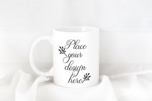 White mug 11oz coffee cup mockup psd