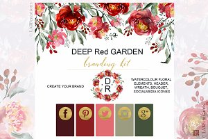 -25% Deep red garden. Branding kit.