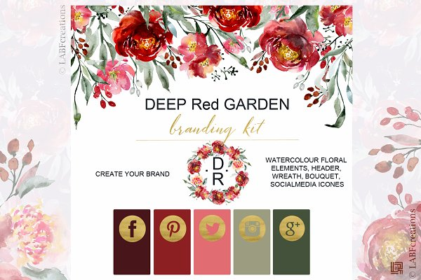 Deep Red Garden. Branding kit.