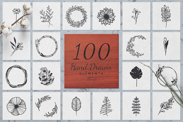 Graphics: Michael Rayback Design - 100 Hand Drawn Elements -Floral-