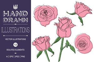 Hand Drawn Contour Line Roses