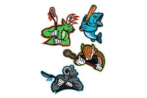 Lacrosse and Baseball Sports Mascot