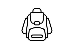 Web line icon. Knapsack black