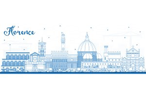 Outline Florence Italy City Skyline