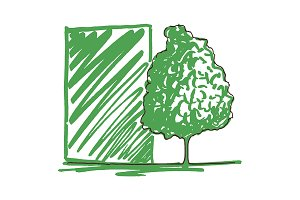 Tree ink line art sketch vector