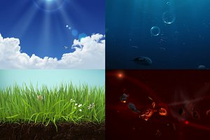 Clouds, Grass, Fire and Water PSD