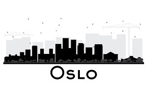 Oslo Norway skyline black and white