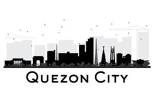Quezon City skyline black and white