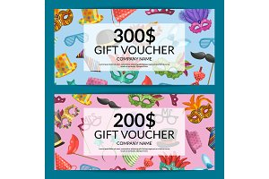 Vector gift card with masks and party accessories