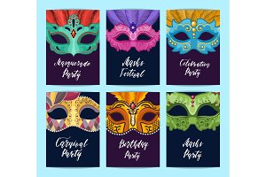 Vector card or flyer templates set with carnival masks illustration
