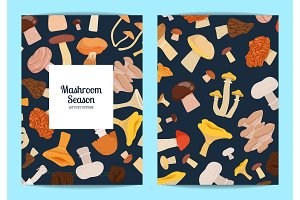 Vector card or flyer set with cartoon mushrooms illustration