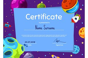 Vector children diploma or certificate with cartoon space planets and ships