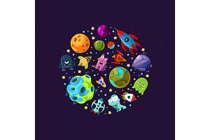 Vector cartoon space planets and ships