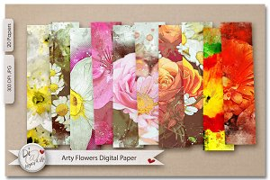 Arty Flowers Digital Papers