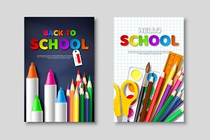 Back to school sale posters with 3d realistic school supplies and paper cut style letters. Poster for seasonal discount, vector illustration.