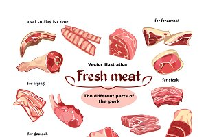 Natural Cutting Pork Meat Parts Set