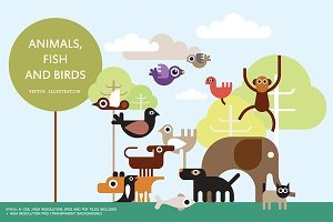 Animals, Fish and Birds vector