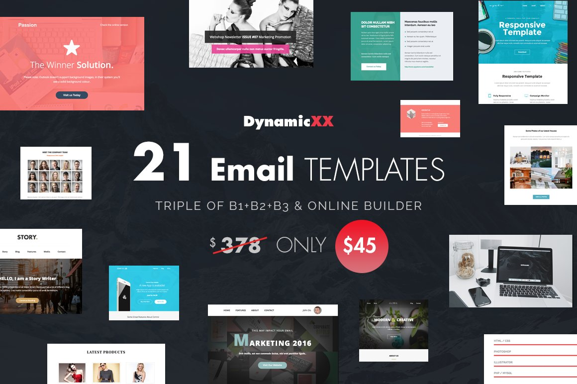 BUNDLE of 21 Email Templates -Triple ~ Email Templates ~ Creative Market