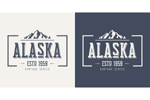 Alaska state textured vintage vector t-shirt and apparel design,