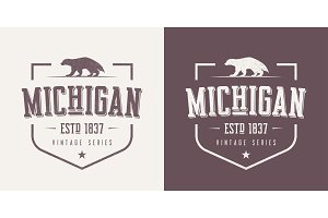 Michigan state textured vintage vector t-shirt and apparel desig