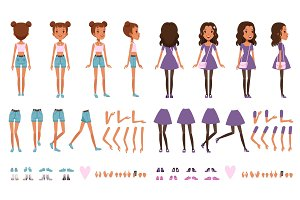 Teenager girl character constructor, creation set. Full length front, back and side view. Body parts and collection of shoes. Flat vector illustration