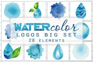 Blue Watercolor Vector Logos Set