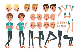 Young man character constructor with body parts legs, arms, hand gestures. Angry, dissatisfied, surprised and calm face expression. Full length boy. Stylish hairstyles. Flat vector