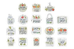 Fresh healthy organic vegan food logo labels set. Badges with natural products. Line art with colorful vegetables and greenery. Hand drawn vector with lettering