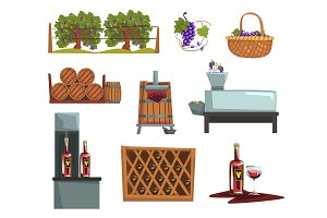 Wine production process stages , production beverage from grape cartoon vector Illustrations