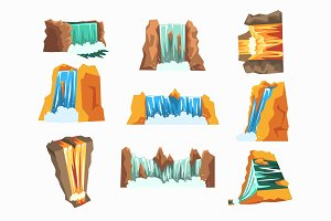 Waterfalls set, cascading streams of various shape cartoon vector Illustrations
