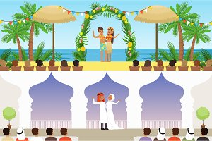 Different wedding ceremonies set, traditional, exotic tropical beach and muslim weddings vector Illustrations